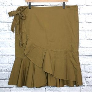 Who What Wear Khaki Faux Wrap Skirt